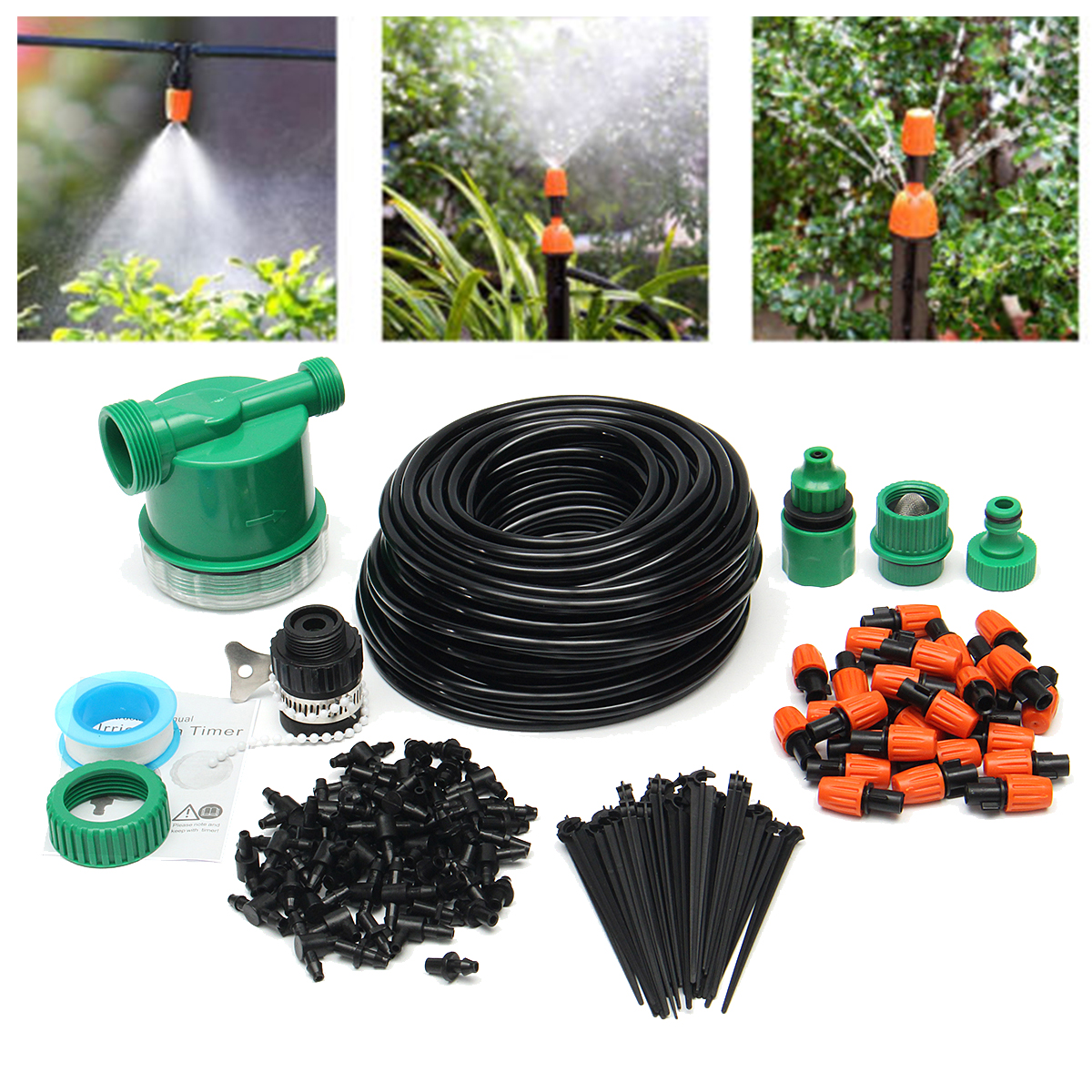 122Pcs Automatic Drip Irrigation DIY Watering System Sprinkler Electronic Control Timer Garden Hose 25M