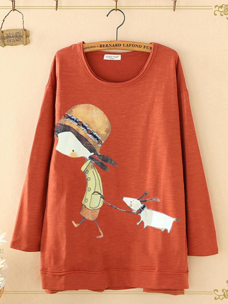Women Casual Cartoon Print Round Neck Long Sleeve Sweatshirts