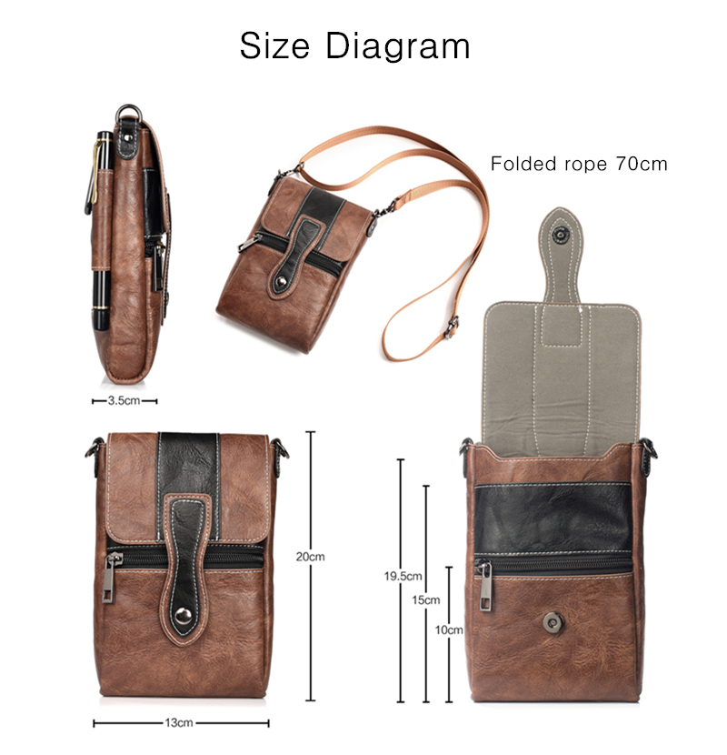 Men High Capacity Portable Genuine Leather Waist Bag For Mobile Phone Under 6 Inches