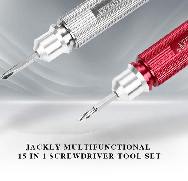 JACKLY Multifunctional 15 in 1 Screwdriver Tool Set for Mobile Phone Repairing Disassembling