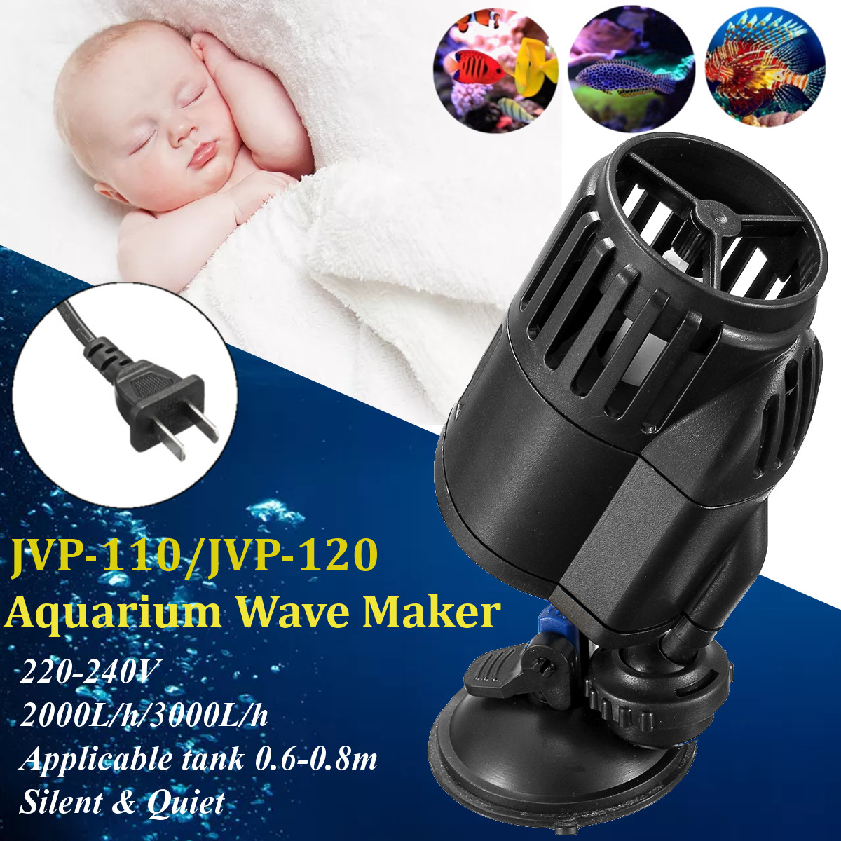 Circulation Aquarium Water Pump Wave Maker Suction Cup Mount Flow Powerhead for Aquarium Fish Tank