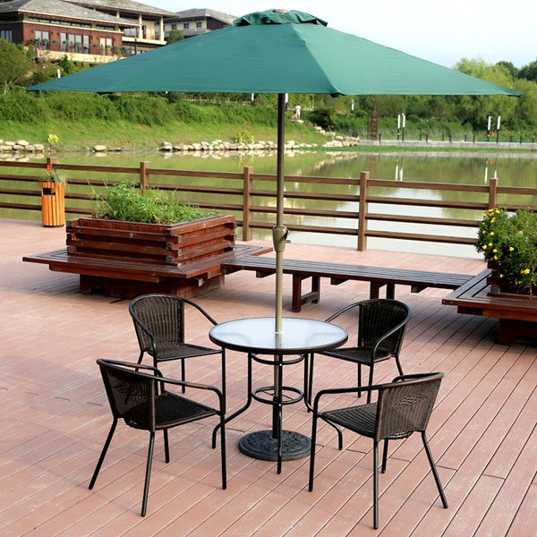 Garden Courtyard Rattan Chair Glass Table with Umbrella