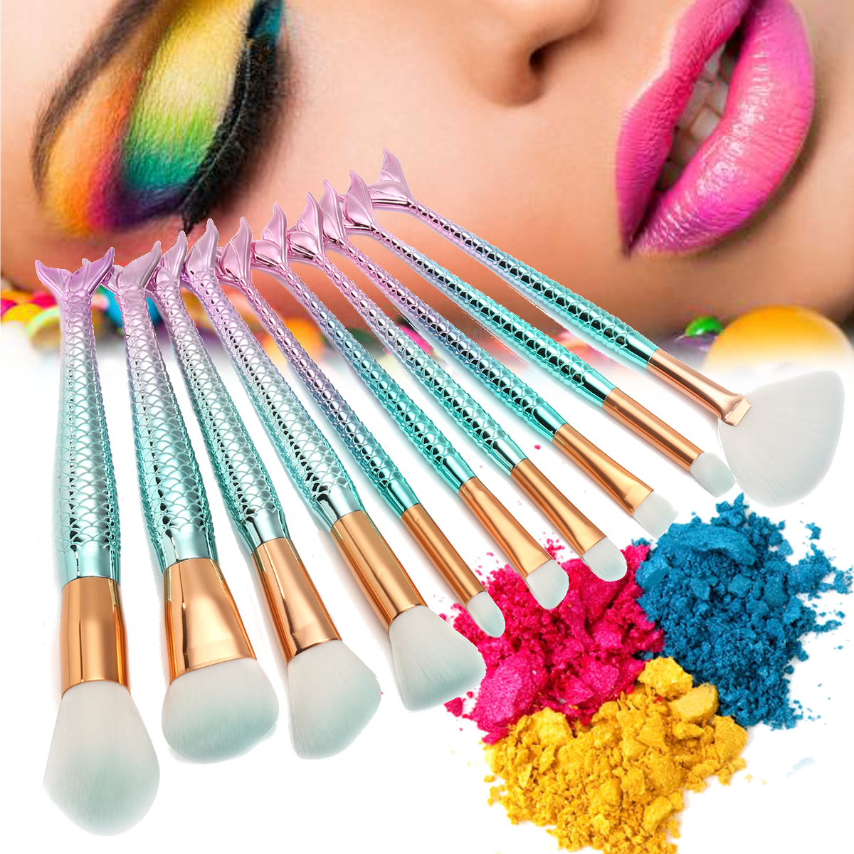 LUCKYFINE Mermaid Makeup Brushes Set 10Pcs