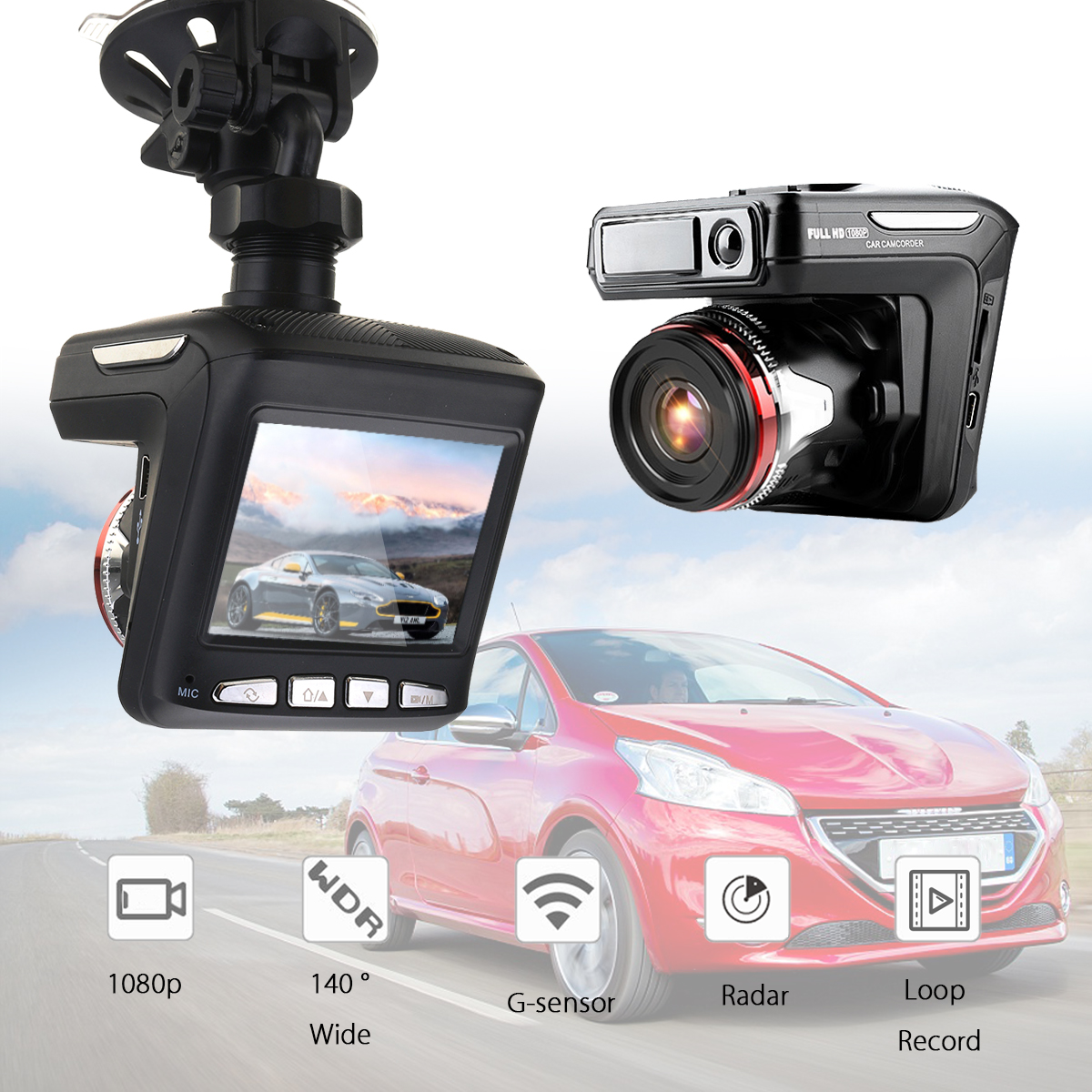 3 in 1 Car DVR Detector Camera Video Recorder Dash Cam Radar Laser 2.4 Inch LCD