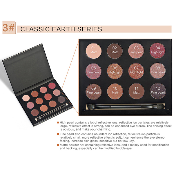 HUAMIANLI 12 Colors Matte Eyeshadow Palette Set Kit Glitter Shimmer Cosmetic Portable Eye Makeup