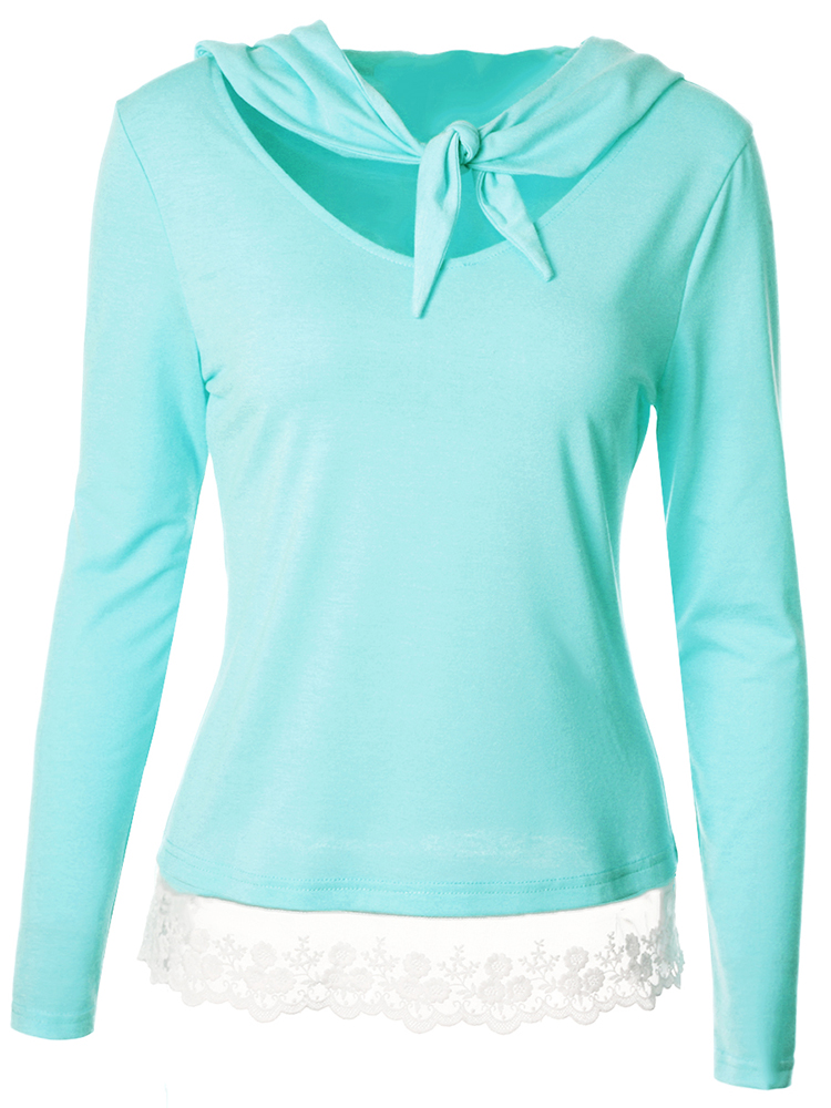 Casual Women Long Sleeve Bow Tie Lace Hem Stitching Hooded T-shirts