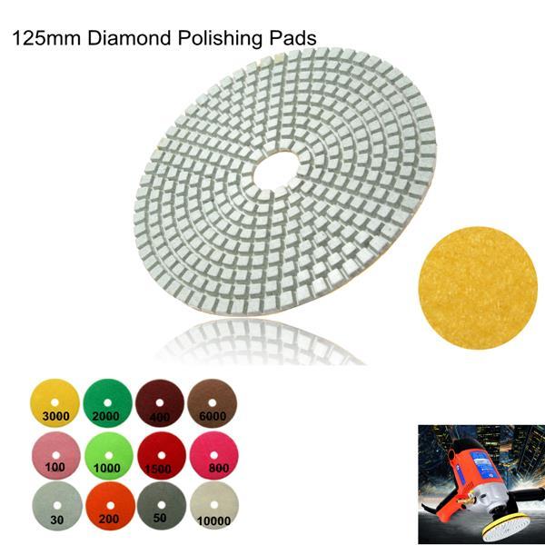 30-10000 Grit Diamond Wet Polishing Pad Wheel 125mm For Marble Concrete Granite
