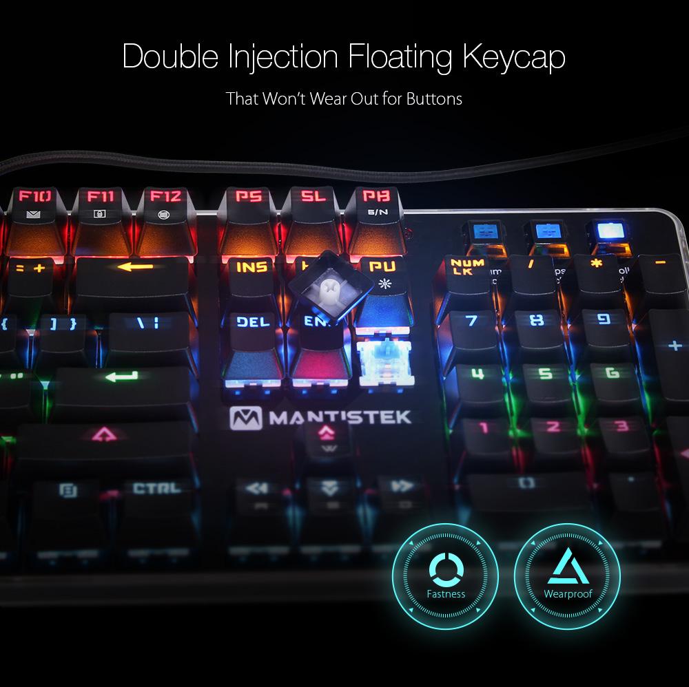 MantisTek® GK1 Blue Switch 104 Keys Backlit Mechanical Gaming Keyboard NKRO 4 Modes of Lighting