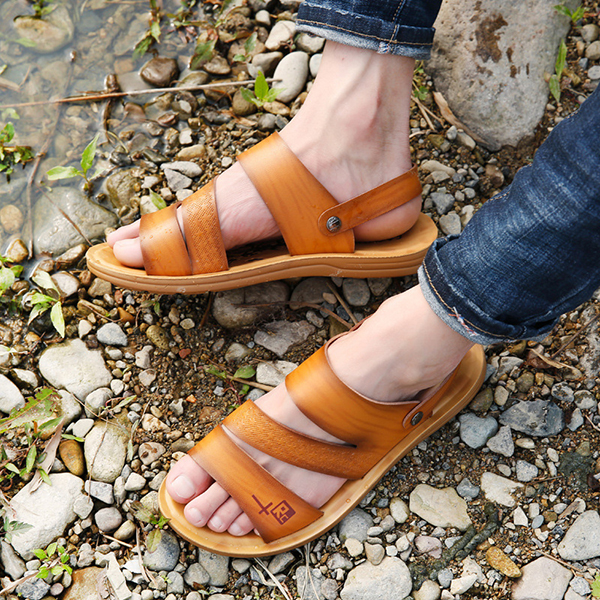 Men Soft Sole Two Way Wear Sandals Beach Shoes