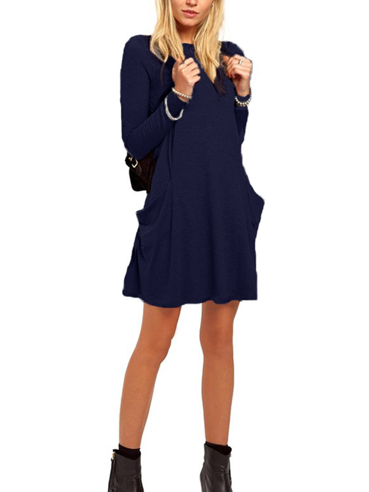 Casual Women Solid Color Crew Neck Long Sleeve Mini Dress