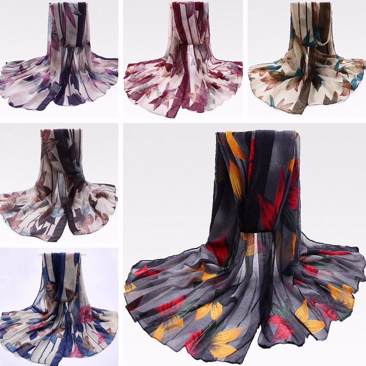Women Ladies Maple leaf Printed Voile Scraves Stole Long Soft Shawl Wrap