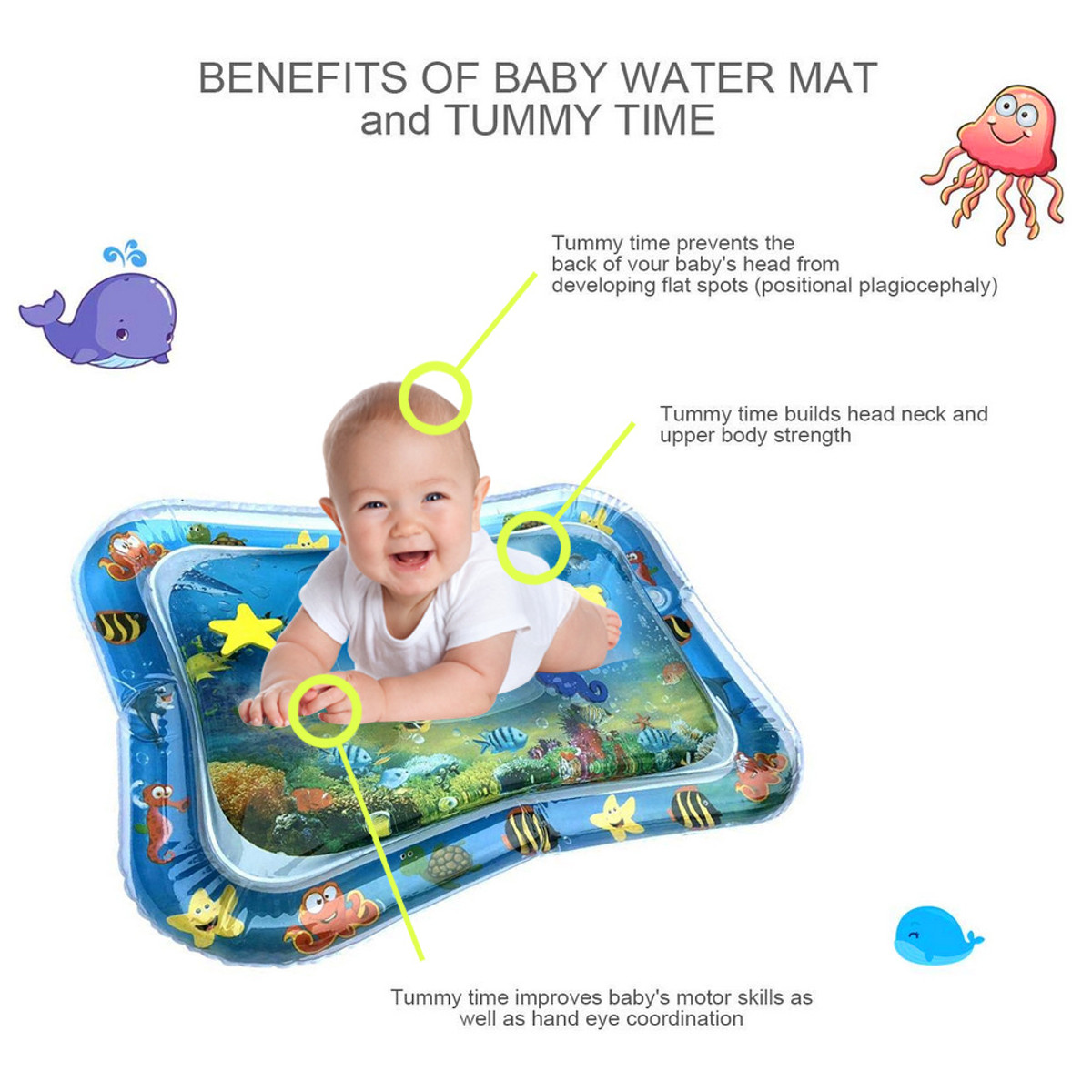 66x50cm Inflatable Baby Water Play Mat Infants Swimming Air Mattress Toddlers Fun Tummy Time Activity Tools
