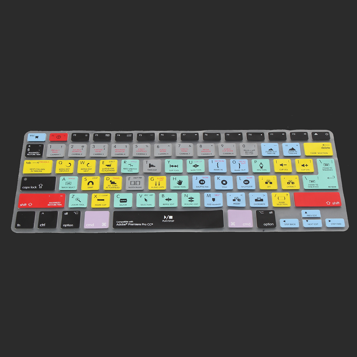 Multicolor Premiere Pro CC Shortcuts Keyboard Skin Cover for Macbook Air 11.6/13.3''