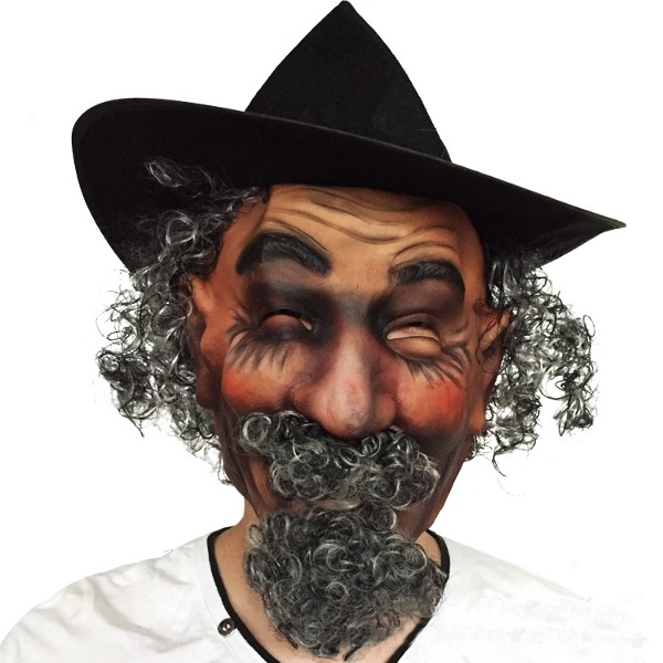 Imitation Mustache Curly Hair Wigs Latex Mask for Hallo