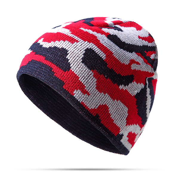 Men Camouflage Thicken Warm Knitted Cap Outdoor Sport Hip Hop Beanie Hats