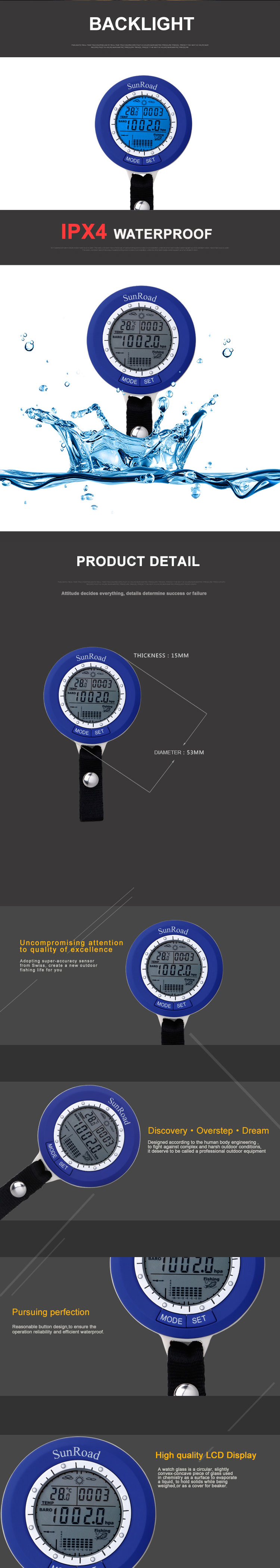 Sunroad SR204 Fishing Digital Barometer Multifunction IPX 4 Waterproof Barometer Thermometer Timer