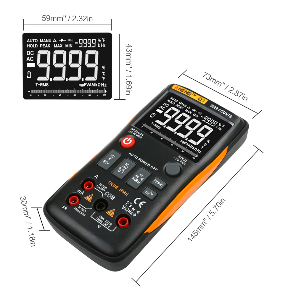 ANENG Q1 9999 Counts True RMS Digital Multimeter AC DC Voltage Current Tester Orange Yellow