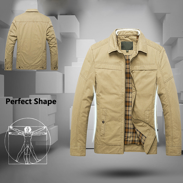 Cotton Warm Zipper Business Casual Loose Outwear Jacket for Men