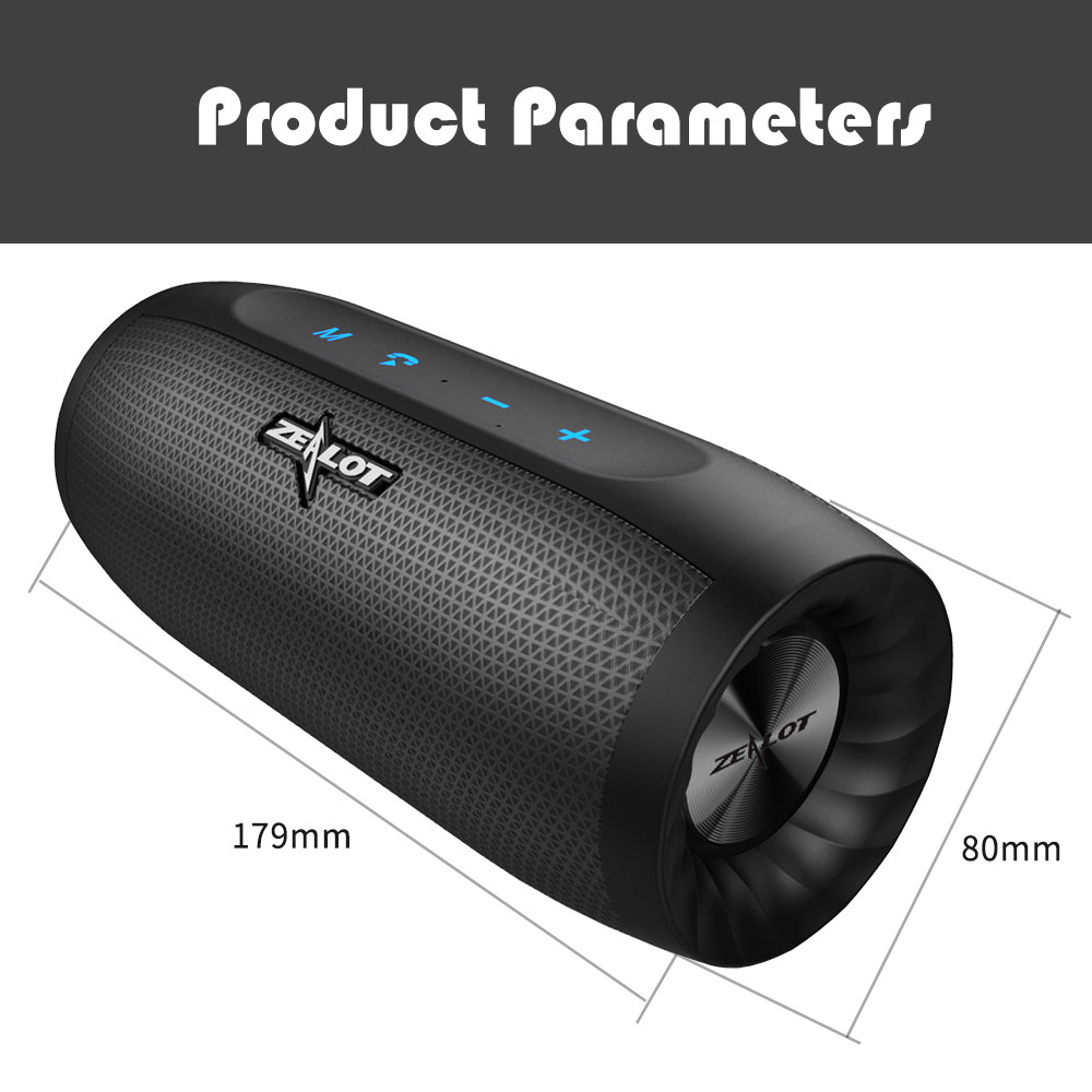 Zealot B16 Portable Wireless Bluetooth Speaker IPX5 Waterproof TF Card 4000mAh Bass Subwoofer