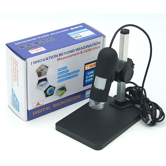 GAOSUO 500X Digital Adjustable 8 LED USB Microscope Magnifier Measurement Function