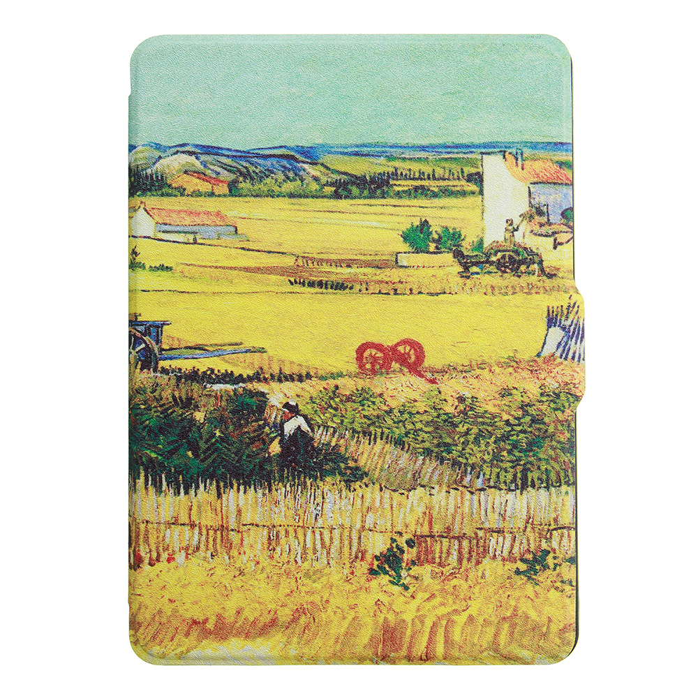 ABS Plastic Wheat Fields Painted Smart Sleep Protective Cover Case For Kindle Paperwhite 1/2/3 eBook Reader