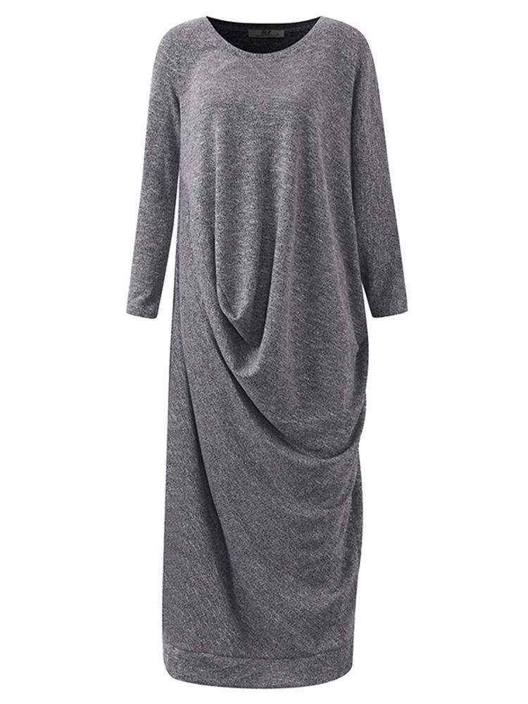 Plus Size Casual Women Batwing Sleeve Dress