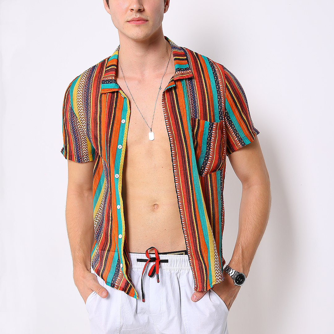 Mens Colorful Striped Printed Pocket Loose Lightweight Shirt