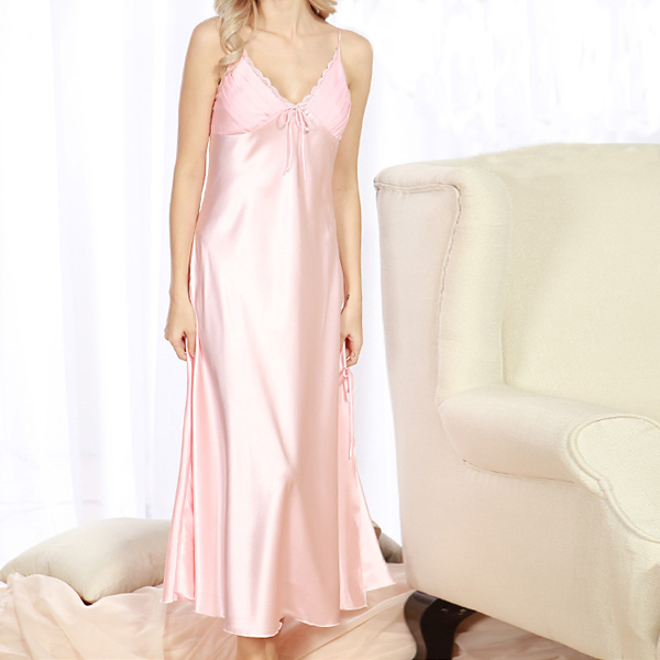 Silk Split Sling Home Service Women Sleepwear Long Skirt