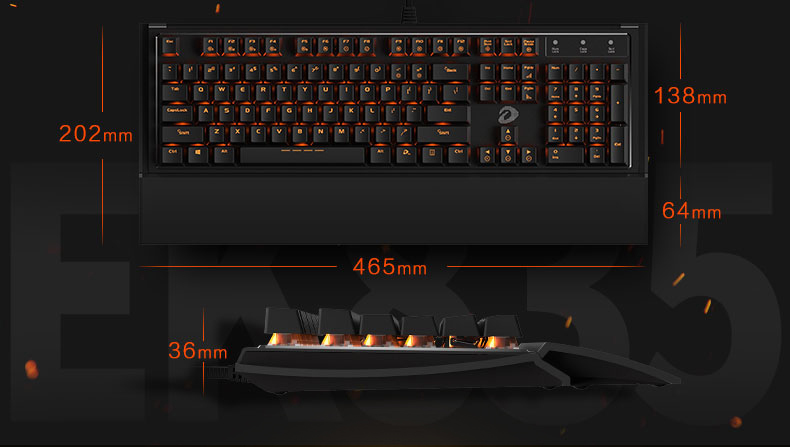 Dareu EK835 104 Keys Orange Light LED Backlight BOX Shaft Gaming Mechanical Keyboard Metal Panel