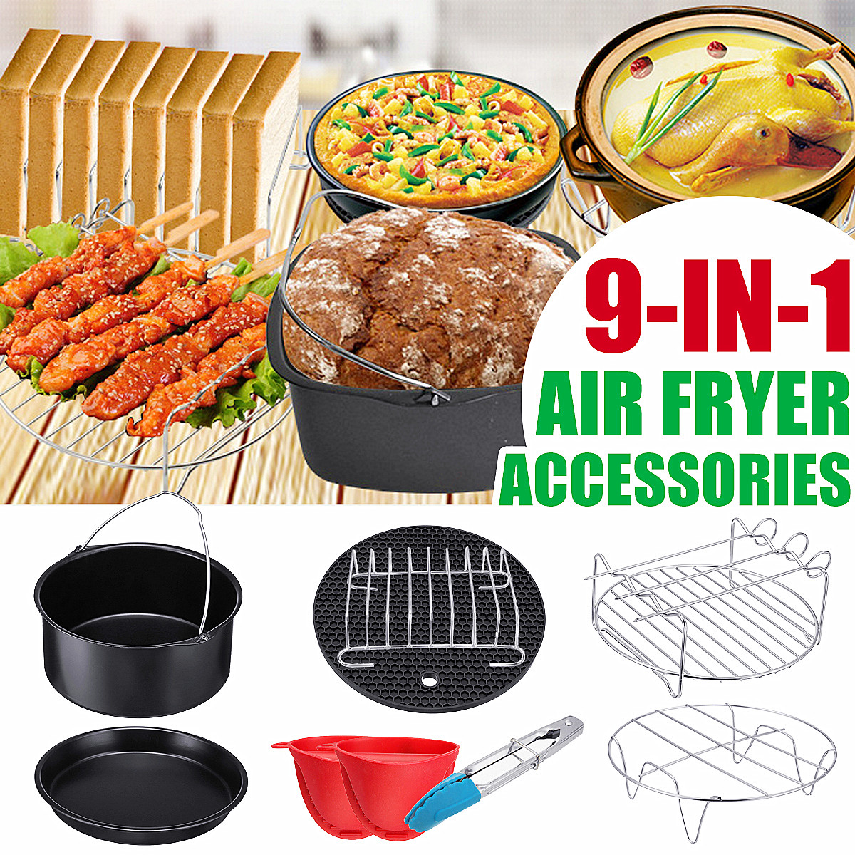 9 In 1 Set Air Fryer Accessories Kitchen Fryer Pizza Pan Bread Shell Frying Pan Mutifunctional
