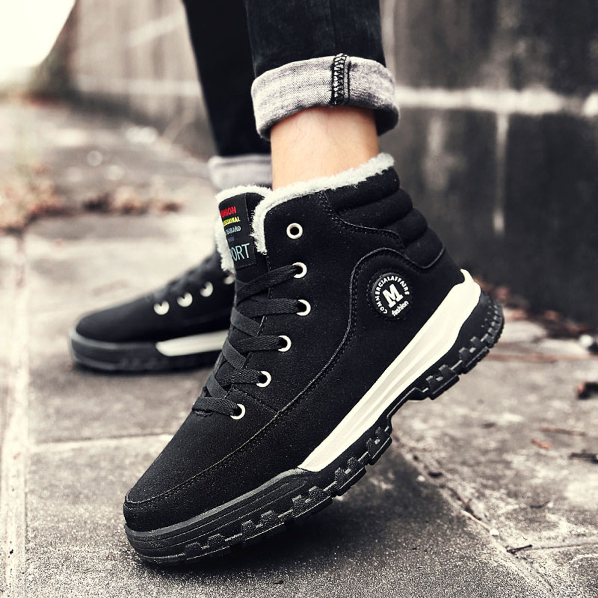 Outdoor Winter Men Cotton Shoes Plus Cashmere Warm Casual High Thickened Snow Boots