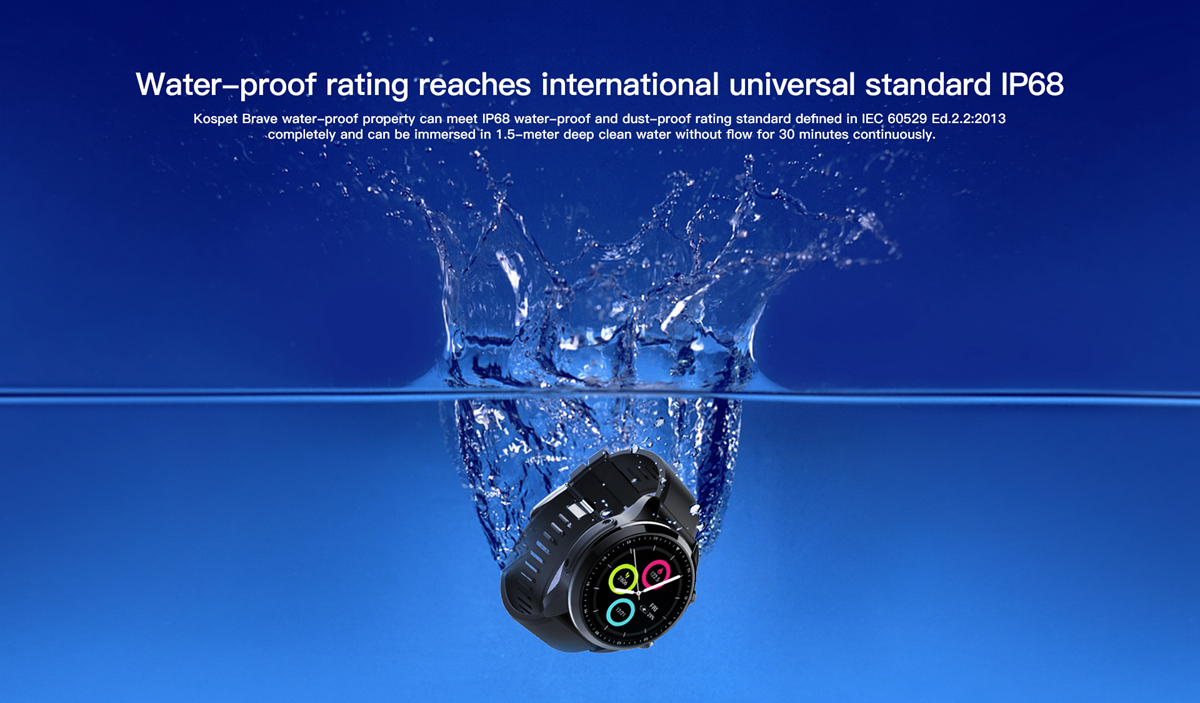 Kospet Brave IP68 Waterproof bluetooth Call 2G+16G 4G-LTE Blood Pressure 8 Sports Mode Smart Watch Phone