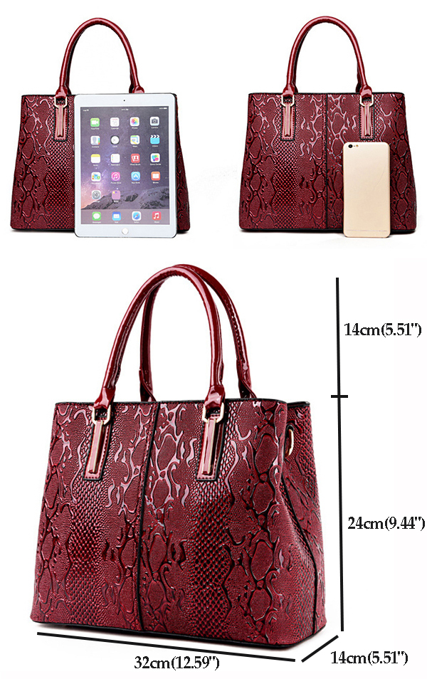 Women Faux Patent Leather Elegant Handbag Shoulder Bag