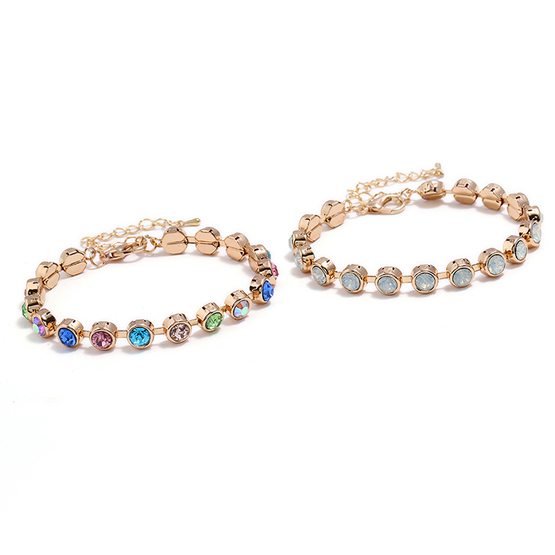 Zinc Alloy Colorful Rhinestone Rose Gold Beads Bracelet