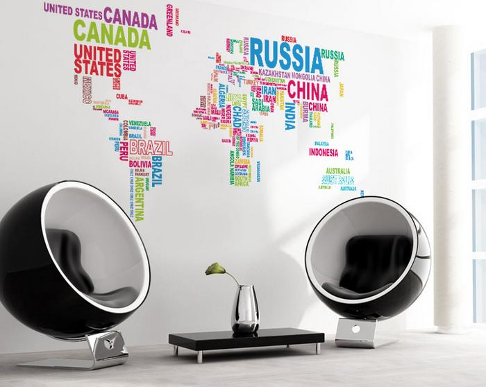 1MX2M Colorful Letter World Map Wall Sticker Living Room Creative Decal DIY Mural Wall Art