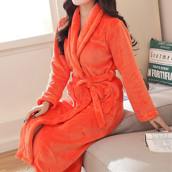 Woman Comfy Soft Flannel Thicken Bathrobe Winter Keep Warm Robe Sleepwear