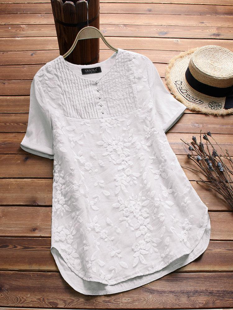 S-5XL Women Cotton Patchwork Loose Short Sleeve Blouse