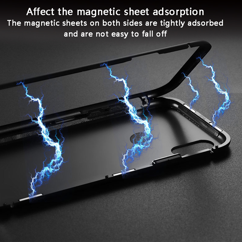 Bakeey 360° Magnetic Adsorption Metal Tempered Glass Protective Case for Huawei P20/P20 Lite/P20 Pro