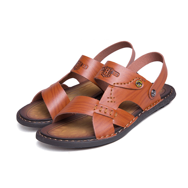 Men Casual Breathable Two Way Wear Leather Sandals