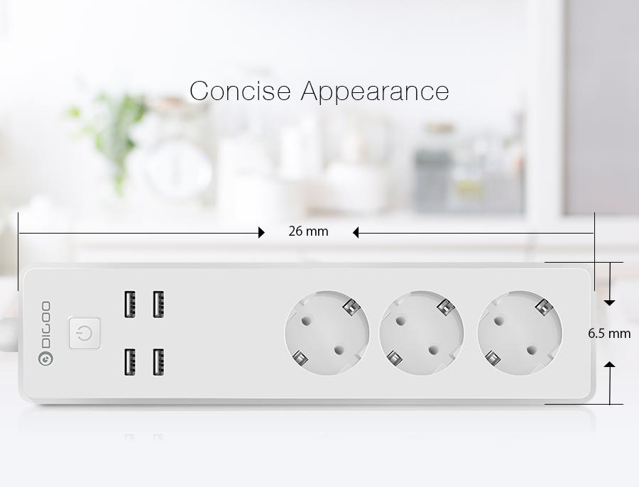 DIGOO DG-PS01 EU Plug Smart Power Strip Work with Alexa Smart Home USB Port Remote Control Multiple Socket