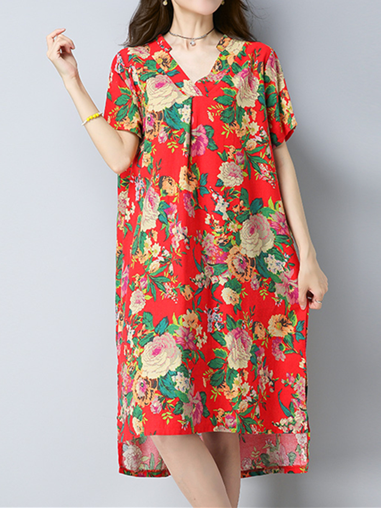 Women Floral Printed Side Split Irregular Hem V-neck Short Sleeve Summer Dress