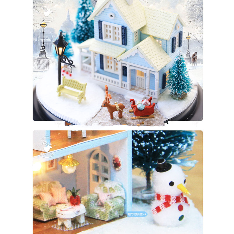 CuteRoom B025 Nordic Fairy Tale DIY Dollhouse With Furniture Light Music Gift House Toy