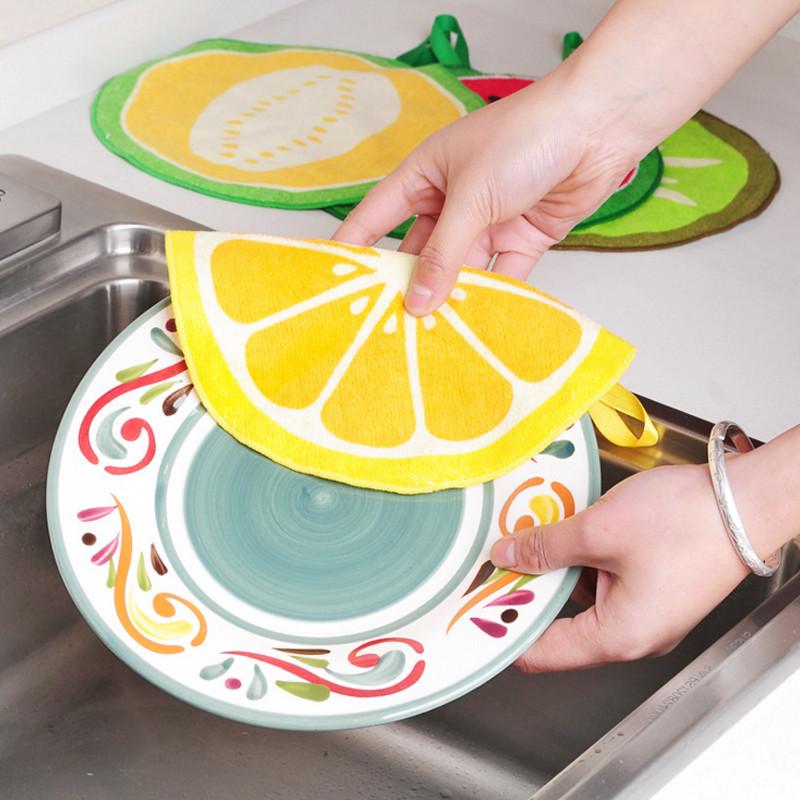 Honana 4Pcs Fruit Pattern Towel Absorbent Cloth Kitchen Towel Handkerchief Quick-Dry Cleaning Rag Dish Cloth Wiping Napkin