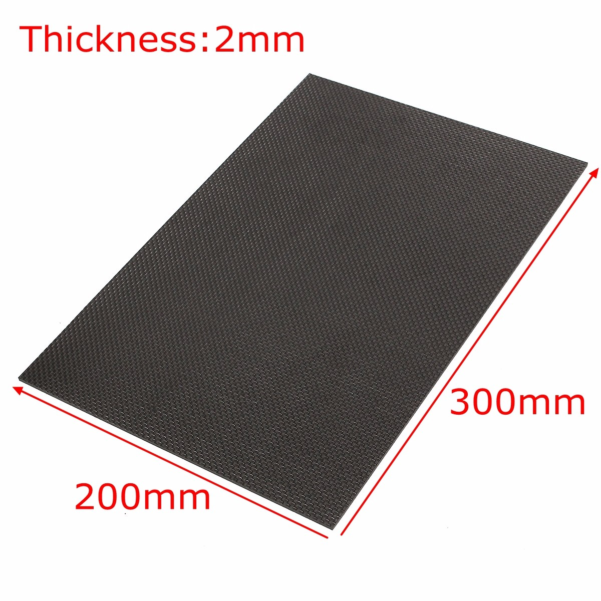 Suleve™ 2Pcs 3K 200×300×2mm Plain Weave Carbon Fiber Plate Panel Sheet