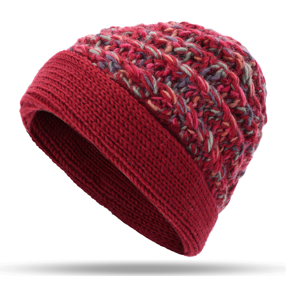 Women Warm Fleece Lining Hand-Knitted Hat Woollen Beanie