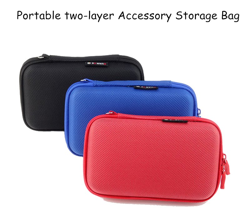 Outdooors Portable Two-layer Shockproof Power Bank USB Charging Cable Storage Bag for Phone Earphone