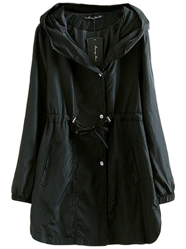 Plus Size Casual Drawstring Solid Button Hood Jacket