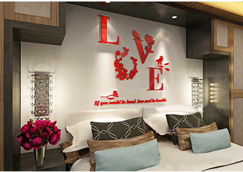creative love acrylic 3d wall stickers dining room background decal