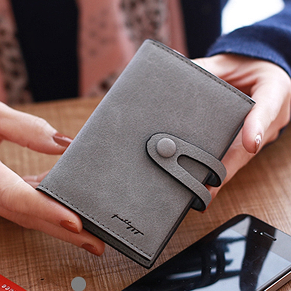 Women PU Solid Short Wallet 20 Card Slot Card Holder Concise