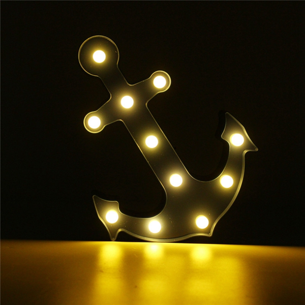Cute Marquee Anchor 11 LED Night Light Battery Lamp Baby Kids Bedroom Home Decor